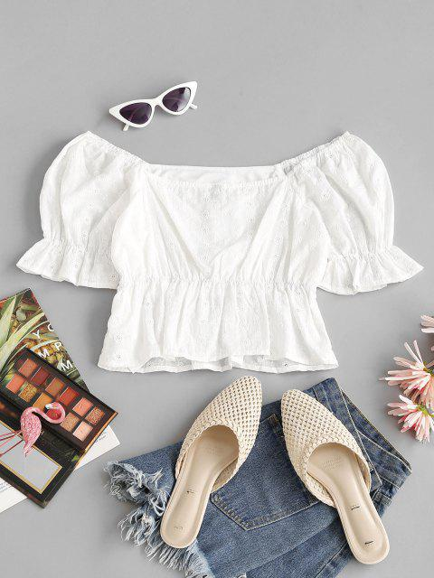 lady Broderie Anglaise Ruffle Puff Sleeve Peplum Blouse - WHITE S Mobile