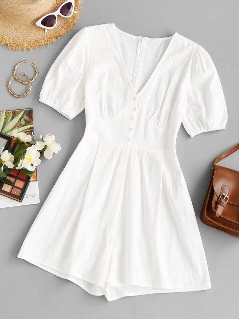 womens V Neck Mock Button Loose Romper - WHITE M Mobile