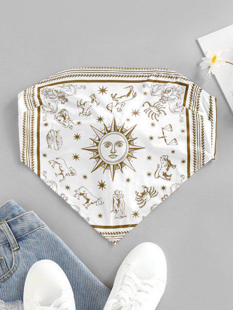 buy ZAFUL Sun Zodiac Print Tie Back Strapless Bandana Top - WHITE M Mobile