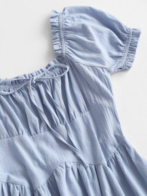 new Smocked Back Puff Sleeve Frilled-trim Nap Dress - LIGHT BLUE XS Mobile