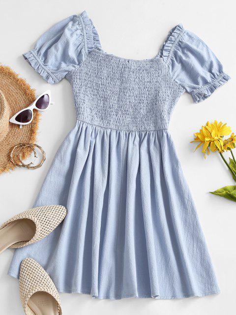 latest Smocked Back Puff Sleeve Frilled-trim Nap Dress - LIGHT BLUE M Mobile