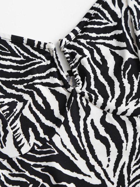 trendy Halter Zebra Print U-bar Crop Top - BLACK S Mobile