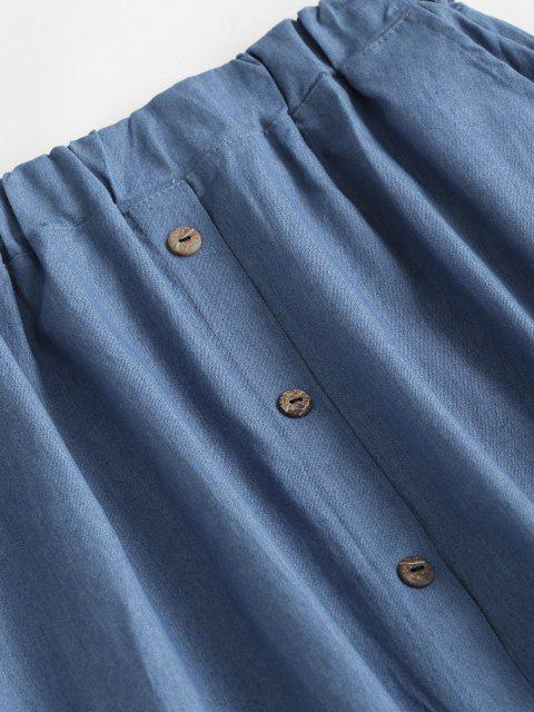 fancy Buttoned A Line Chambray Skirt - LIGHT BLUE M Mobile