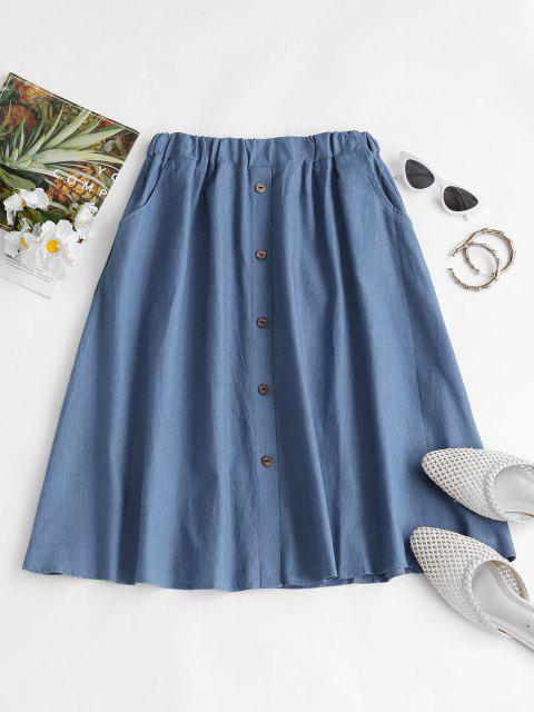 shop Buttoned A Line Chambray Skirt - LIGHT BLUE S Mobile