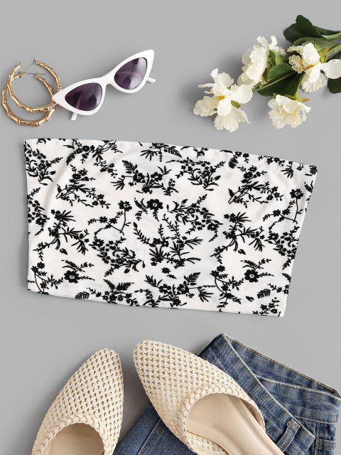 shop Mesh Plant Flocked Bandeau Top - WHITE M Mobile