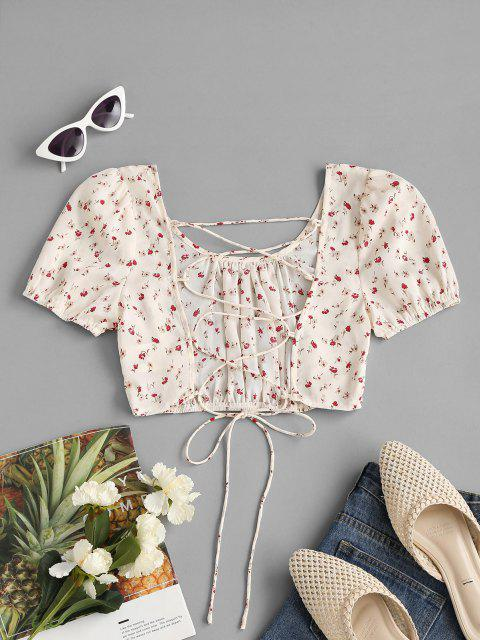 outfits Ditsy Print Lace-up Puff Sleeve Crop Blouse - WHITE S Mobile