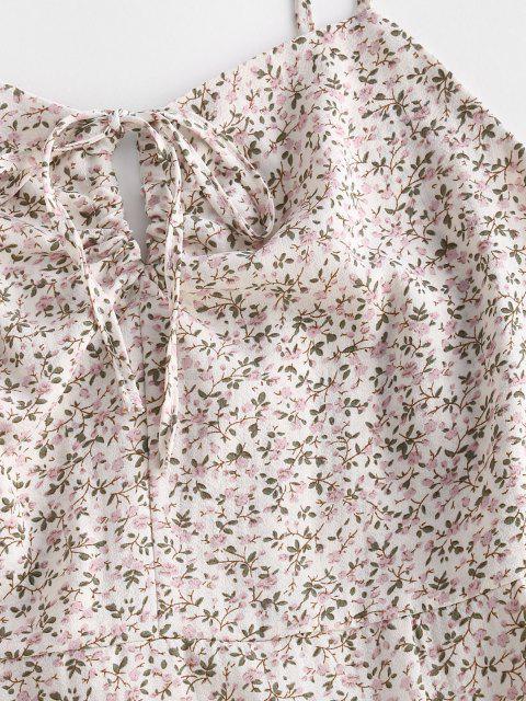sale Ditsy Floral Tie Slit Cami Dress - WHITE M Mobile