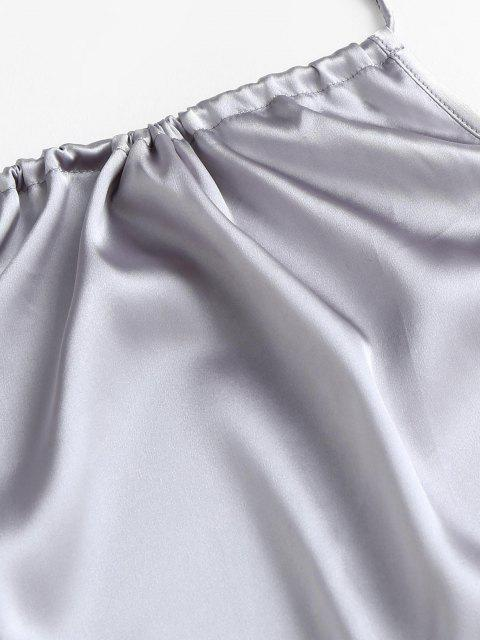 affordable Halter Silky Satin Open Back Slinky Bodycon Dress - LIGHT GRAY L Mobile