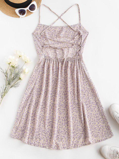 Ditsy Floral Criss Cross Backless Cami Dress - أبيض L Mobile