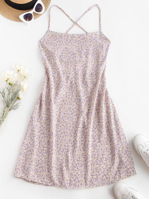 hot Ditsy Floral Criss Cross Backless Cami Dress - WHITE S Mobile