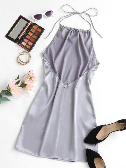 trendy Halter Silky Satin Open Back Slinky Bodycon Dress - LIGHT GRAY XS Mobile