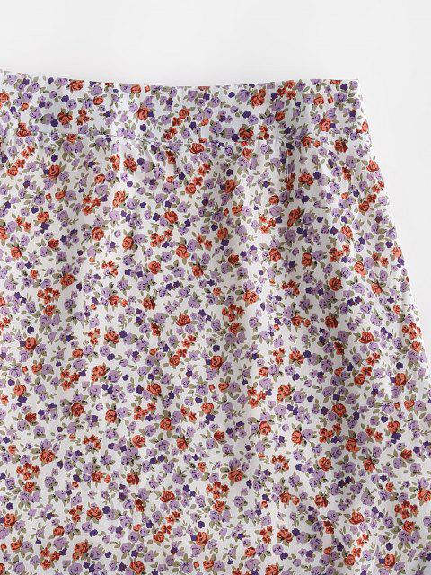 new Ditsy Floral Slit A Line Skirt - LIGHT PURPLE S Mobile