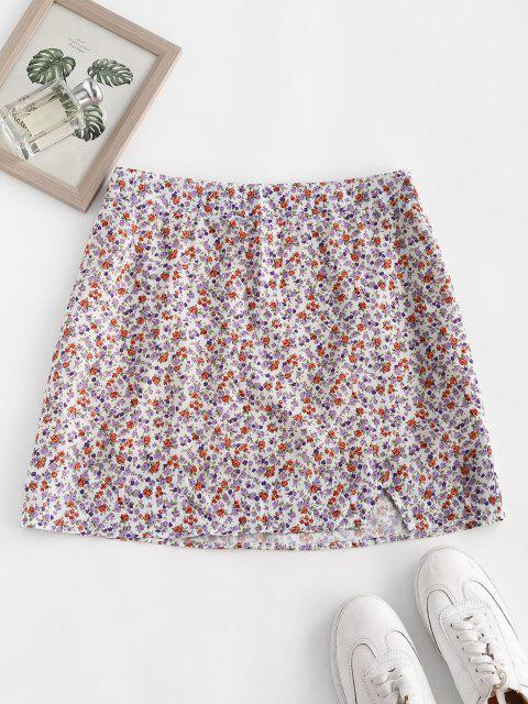 affordable Ditsy Floral Slit A Line Skirt - LIGHT PURPLE M Mobile