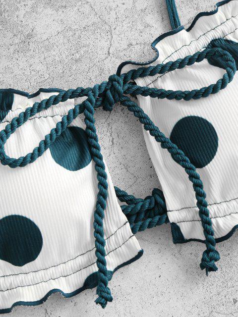 ZAFUL Gepunktetes Bikini Badebekleidung mit Gerippten Trägern - Dunkelgrün S Mobile