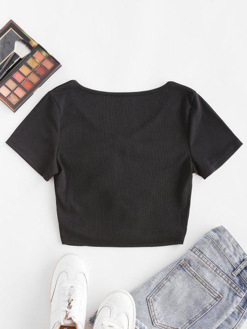 ZAFUL Camiseta de Cuello V con Recorte de Canalé - Negro M Mobile