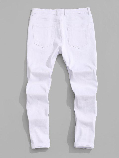 fancy Floral Letter Embroidery Zipper Fly Casual Pencil Jeans - WHITE 42 Mobile