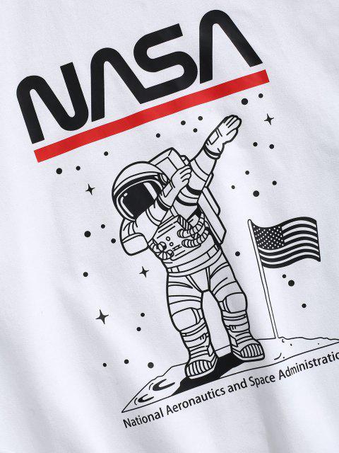 womens American Flag Astronaut Graphic Crew Neck Sweatshirt - WHITE L Mobile