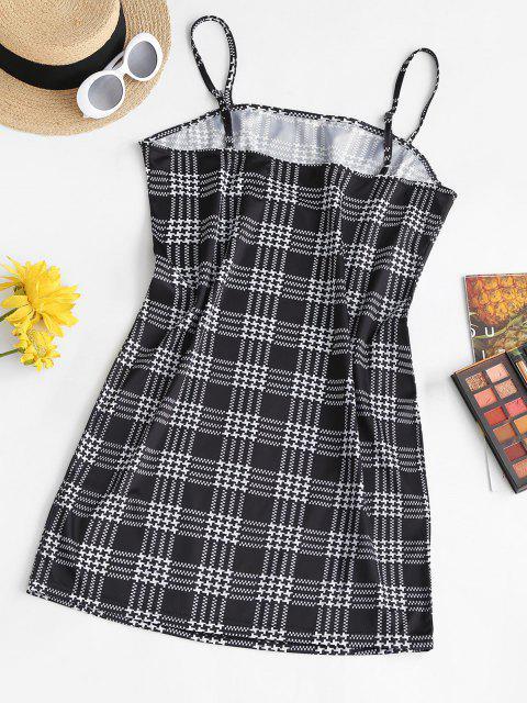 ladies ZAFUL Plus Size Spaghetti Strap Plaid Slinky Bodycon Dress - MULTI L Mobile