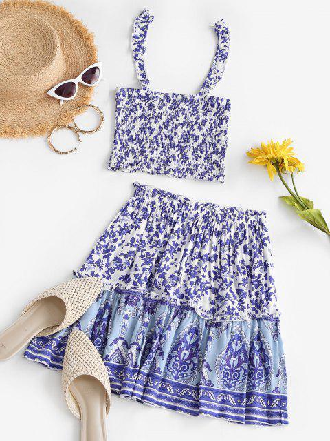 best Bohemian Flower Ruffle Smocked Tiered Skirt Set - BLUE S Mobile