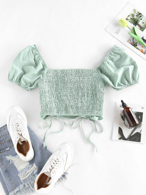 fashion ZAFUL Cinched Smocked Puff Sleeve Crop T Shirt - LIGHT GREEN S Mobile