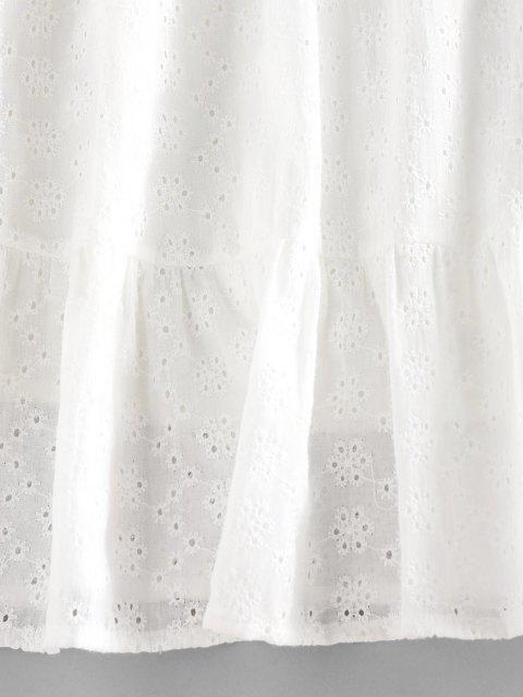 ZAFUL Mini Robe Broderie Anglaise à Volants - Blanc L Mobile