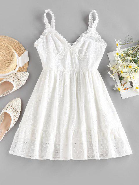 affordable ZAFUL Ruffle Broderie Anglaise Mini Dress - WHITE S Mobile