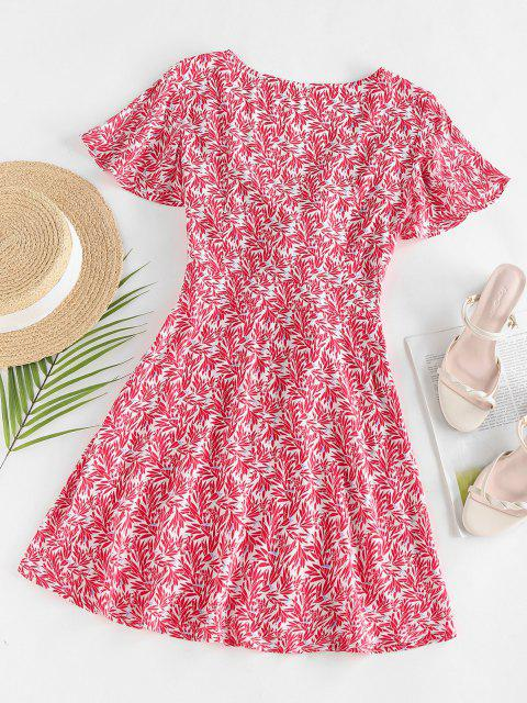 Zaful Leaves Print Front Knot MINI DRESS - أحمر M Mobile