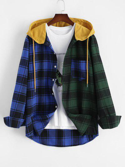 Colorblock Plaid Hooded Shirt Jacket - Blue L