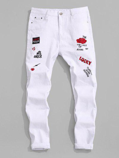 Floral Letter Embroidery Zipper Fly Casual Pencil Jeans - White 32
