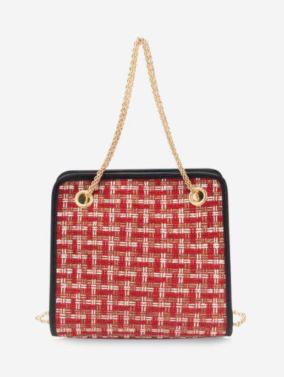 Tweed Plaid Pattern Chain Handbag - Red Wine