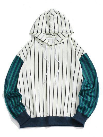 Two Tone Striped Drop Shoulder Hoodie - White L