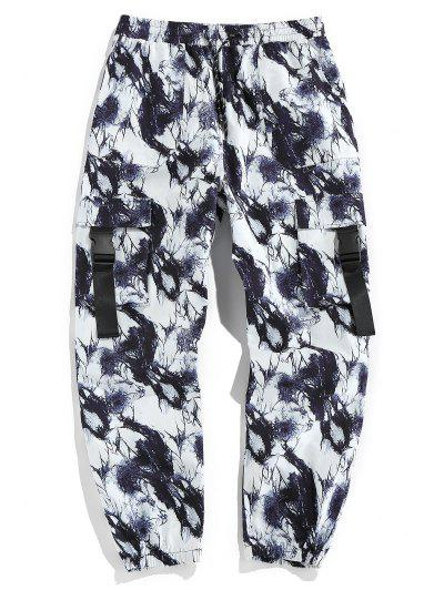 ZAFUL Tie Dye Print Release Buckle Cargo Pants - Black Xl