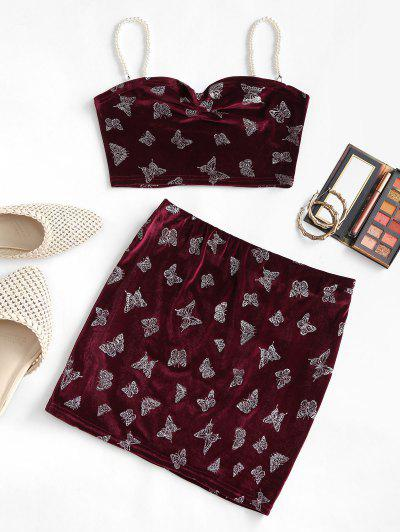 Metallic Butterfly Velvet Faux Pearl Straps Mini Skirt Set - Deep Red S