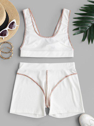 ZAFUL Rib-knit Topstitching V-back Tank And Shorts Set - White L