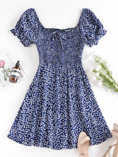 ZAFUL Ditsy Print Smocked Bowknot Ruffle Mini Dress - Deep Blue M