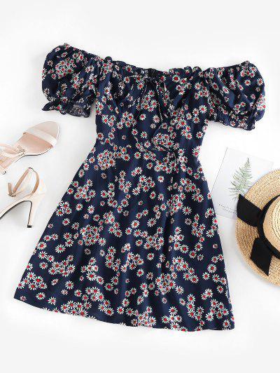 ZAFUL Daisy Floral Off Shoulder Frilled Dress - Deep Blue S