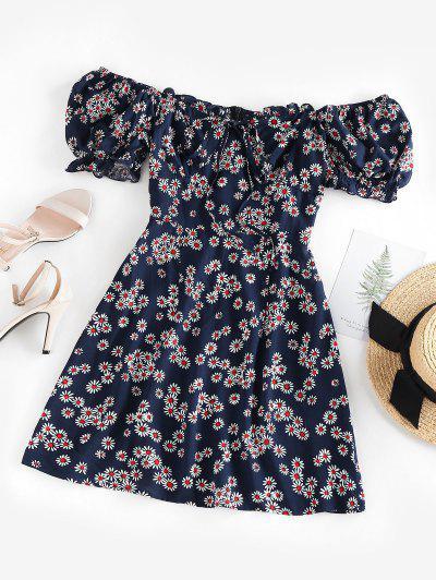 ZAFUL Daisy Floral Off Shoulder Frilled Dress - Deep Blue S