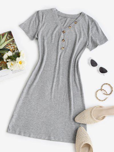 Rib-knit Buttoned Slinky Bodycon Dress - Light Gray