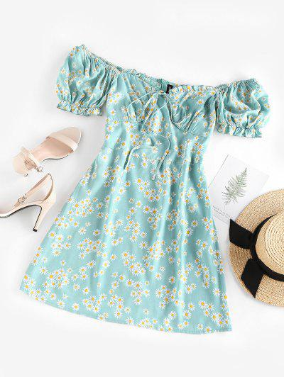 ZAFUL Daisy Floral Off Shoulder Frilled Dress - Light Blue M