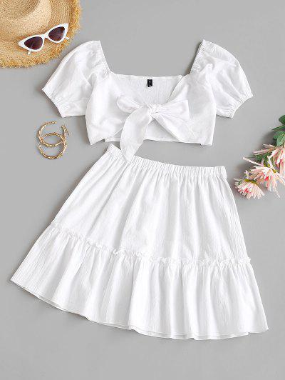 Tie Front Puff Sleeve Tiered Skirt Set - White S