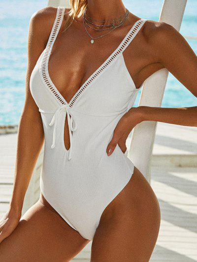 ZAFUL Ribbed Ladder Cut Bowknot Keyhole One-piece Swimsuit - White M