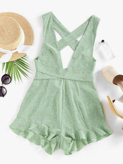 ZAFUL Ditsy Print Criss Cross Ruffle Backless Romper - Light Green M