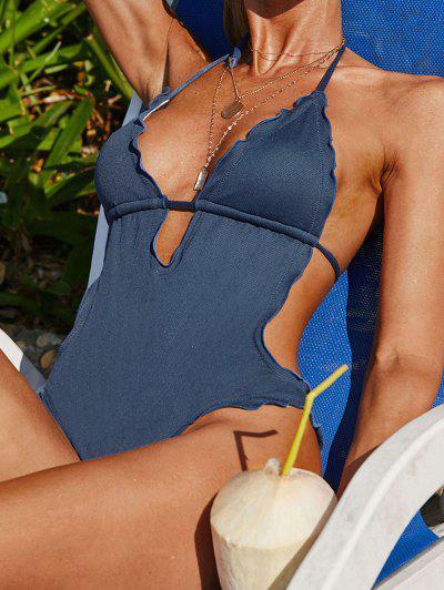 ZAFUL Textured Halter Lettuce-trim Keyhole Monokini Swimsuit - Deep Blue M