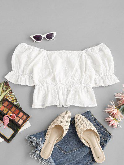 Broderie Anglaise Ruffle Puff Sleeve Peplum Blouse - White S