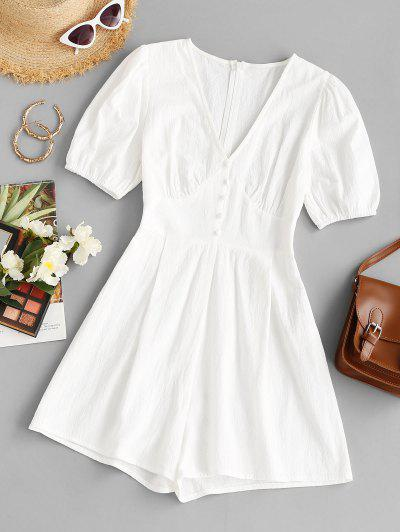 V Neck Mock Button Loose Romper - White M