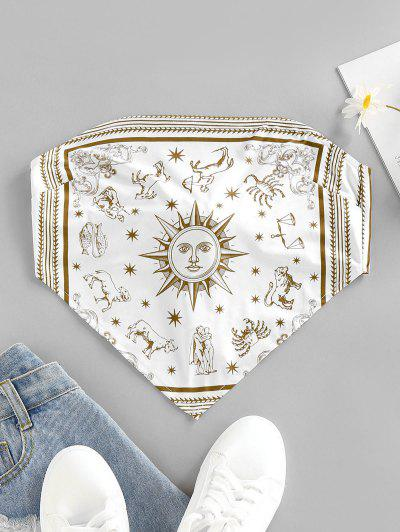 ZAFUL Sun Zodiac Print Tie Back Strapless Bandana Top - White L