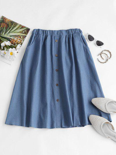 Buttoned A Line Chambray Skirt - Light Blue M