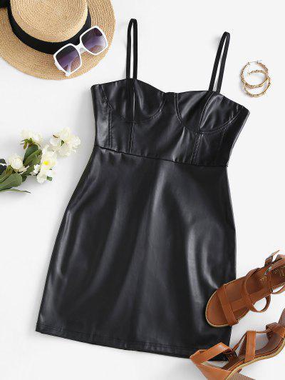 Spaghetti Strap PU Leather Slinky Bustier Dress - Black S