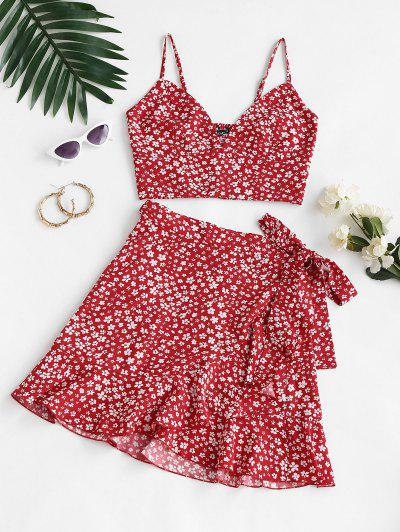 Ditsy Print Smocked Back Ruffle Wrap Two Piece Dress - Red M