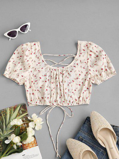 Ditsy Print Lace-up Puff Sleeve Crop Blouse - White S